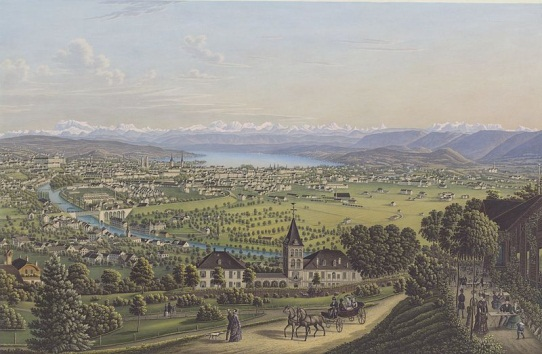 General view of Zurich around 1884 by Heinrich Siegfried. Picture provided by Zentralbibliothek Zurich (Wikimedia Commons, Public Domain)