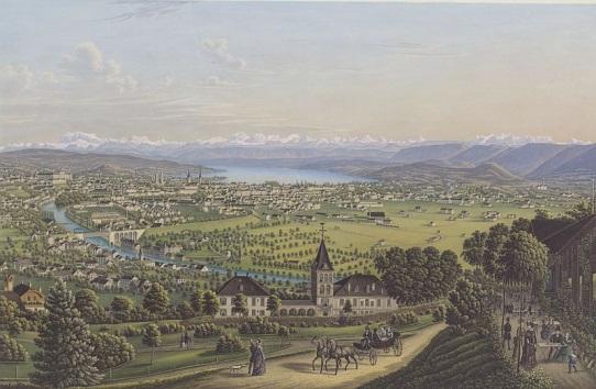 General view of Zurich around 1884 by Heinrich Siegfried. Picture provided by Zentralbibliothek Zurich (Wikimedia Commons, Public Domain)